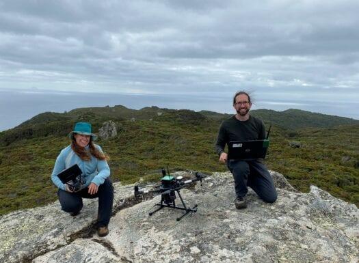 Debbie Saunders and Josh Bobruk from Wildlife Drones tracking kakapo