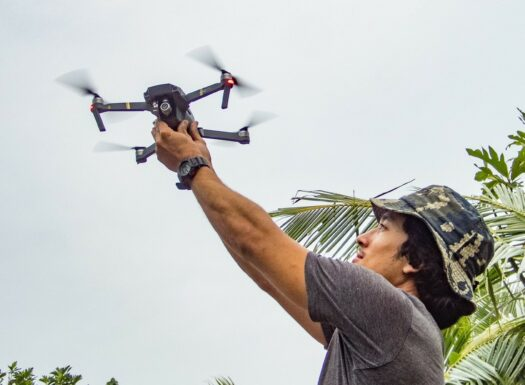 Jason Launching the Drone Location: Kayangel, Palau. Photo by Tommy Hall/Island Conservation